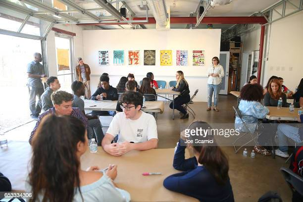 Students attend Empathy Lab AntiBullying Workshop hosted by Refinery29 Kesha and Columbia University School of the Arts Digital Storytelling Lab on...