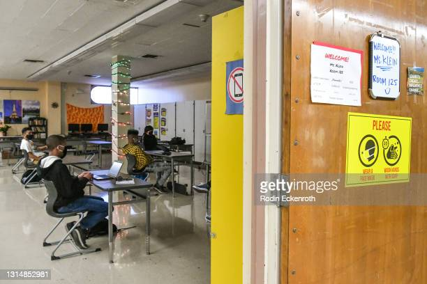 Students attend in-person instruction at Hollywood High School on April 27, 2021 in Los Angeles, California. Los Angeles Unified School District...