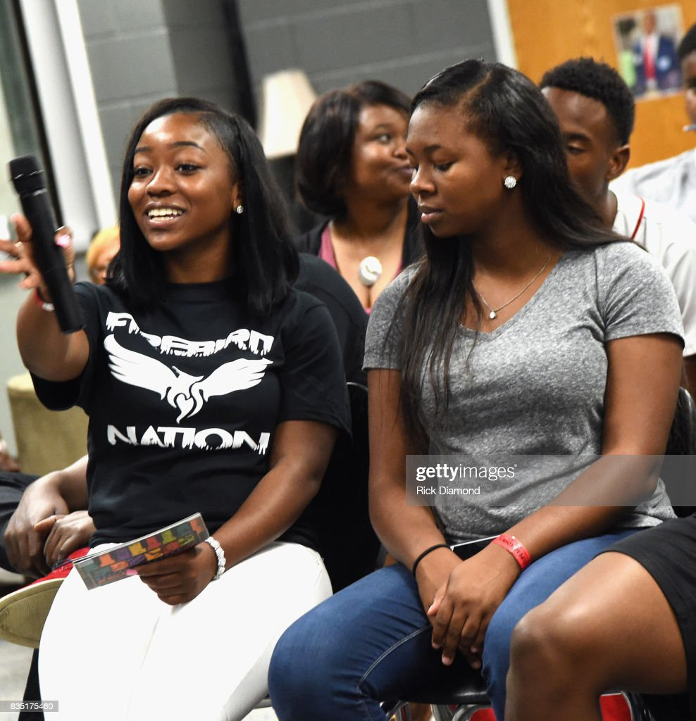 Students attend NMAAM Music Legends and Heroes Hip Hop Duo Kid 'N Play Visit Pearl Cohn High School on August 18, 2017 in Nashville, Tennessee.