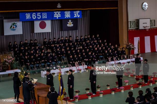 Students attend the first graduation ceremony since last year's earthquake and tsunami which ravaged the town of Minamisanriku where the Shizukawa...