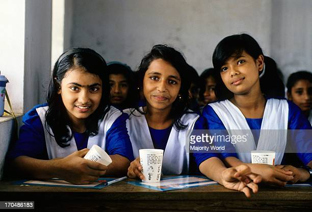 Students attending a class, in a school, in Bangladesh.
