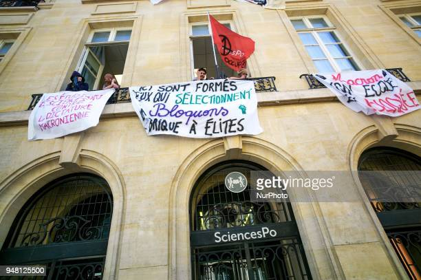 Students block the entrance of Sciences Po university on April 18 2018 in Paris as part of nationwide demonstrations against higher education reforms...