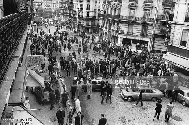 Students building barricades on the Rue GayLussac in Paris during the events of May 1968