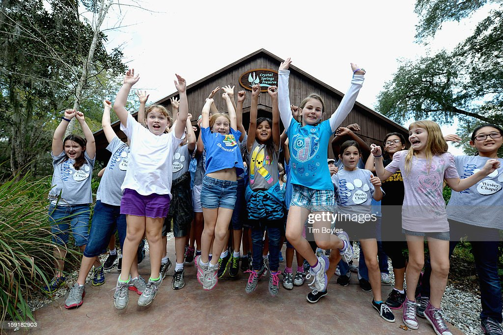 Students celebrate after completing lessons at WaterVentures, Florida's Learning Lab at Crystal Springs Preserve in partnership with Zephyrhills 100% Natural Spring Water on January 9, 2013 in Crystal Springs, Florida.