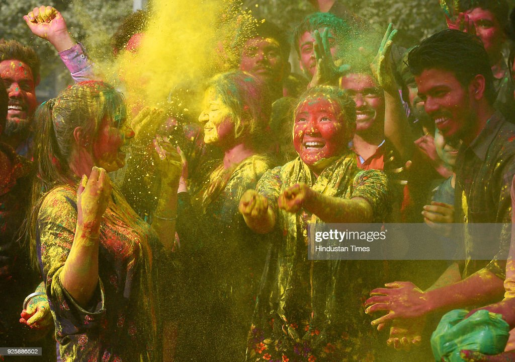 Students celebrate the Holi festival on March 1 2018 in New Delhi India Holi is a Hindu spring festival in India and Nepal also known as the...
