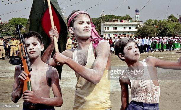 Students celebrate Victory Day of Bangladesh in memory of the freedom fighters who lost their lives in a nine month long Liberation War in 1971...