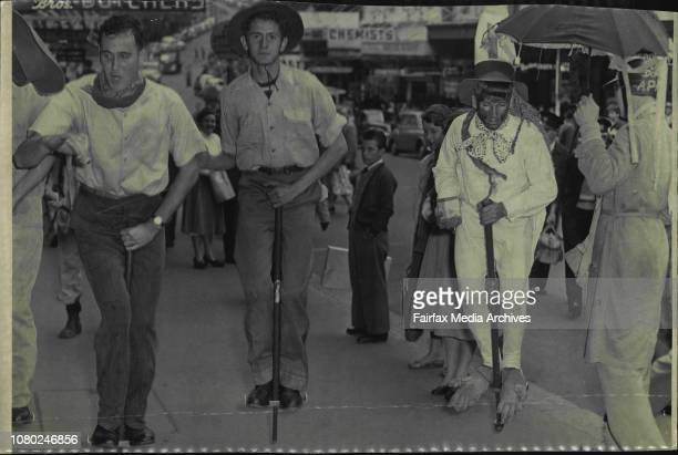 Students celebrating Commemoration Day give a demonstration on pogo sticks of the footpath in Hunter St May 08 1956
