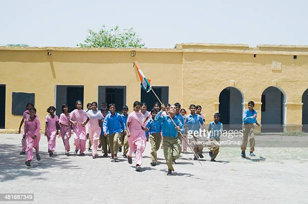 Students celebrating independence day in a school