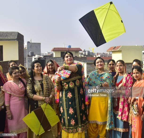 Students celebrating on the eve of Lohri festival on January 12, 2020 in Amritsar, India.