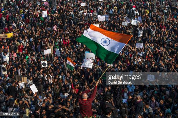 Students chant anti-police slogans during a protest against the Indian governments reaction to recent rape incidents in India in front of the...