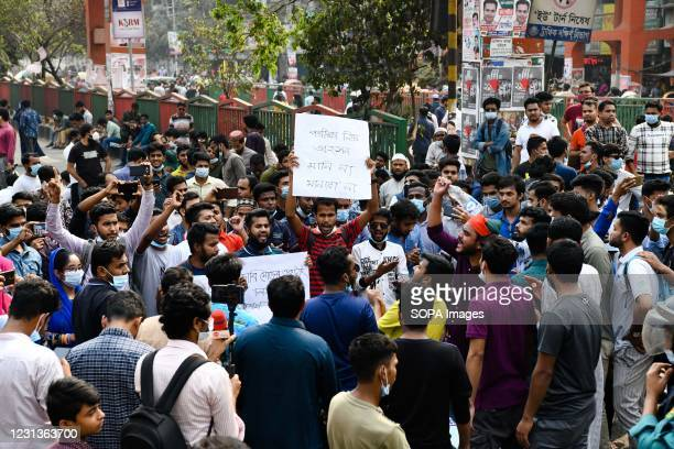 Students chant slogans at Science lab road during the demonstration. Thousands of students from seven colleges and universities protest against the...