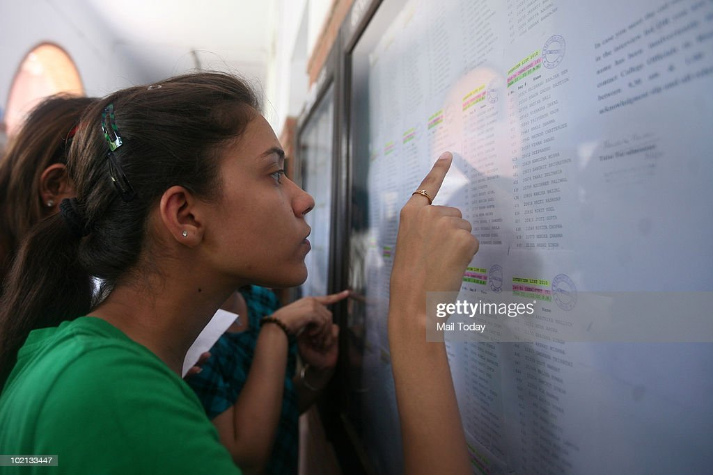 Students checking their names in the first cut-off list of St. Stephen's College.