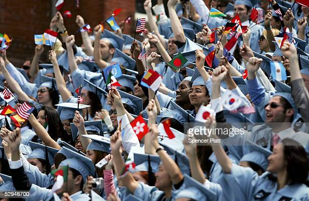 Students cheer during commencment ceremonies at Columbia University May 18 2005 in New York City This is the 251st class to graduate from Columbia