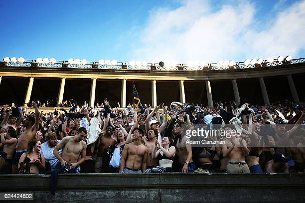 Students cheer during the game between the Yale Bulldogs and the Harvard Crimson at Harvard Stadium on November 19 2016 in Boston Massachusetts
