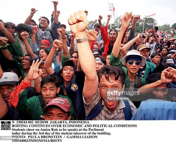 Students Cheer On Amien Rais As He Speaks At The Parliament May 20 1998 During The 3Rd Day Of The Student Takeover Of The Building In Jakarta...