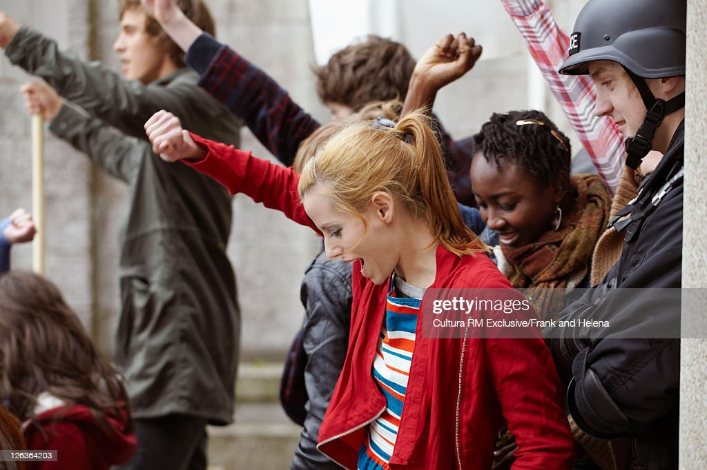 Students cheering at protest : Stock Photo