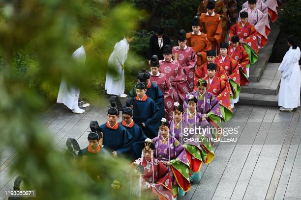 Students clad in kimono attend a coming-of-age ceremony in the Kokugakuin university in Tokyo on January 11, 2020. - Every January, Japanese turning...