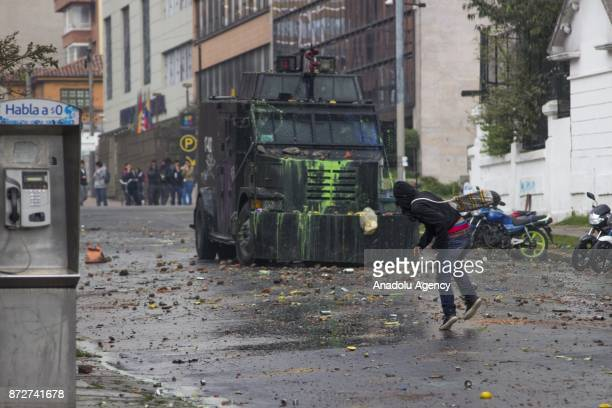 Students clash with Colombian antiriot police during a protest against dissatisfaction of educational centers and education budget in Bogota Colombia...