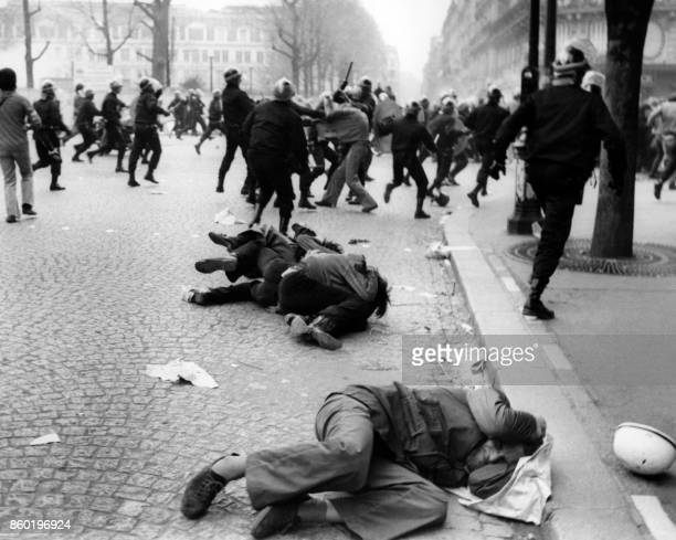 Students clash with riot police officers during a demonstration on May 1968 in Paris during the May 1968 events in France.
