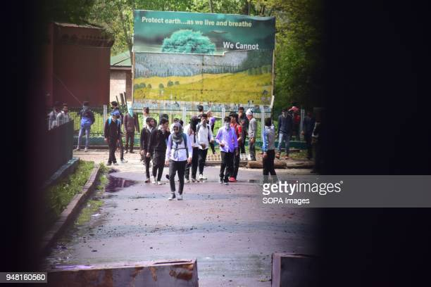 SRINAGAR KASHMIR INDIA SRINAGAR JAMMU KASHMIR INDIA Students clash with the police forces during clashes which erupted between students and...