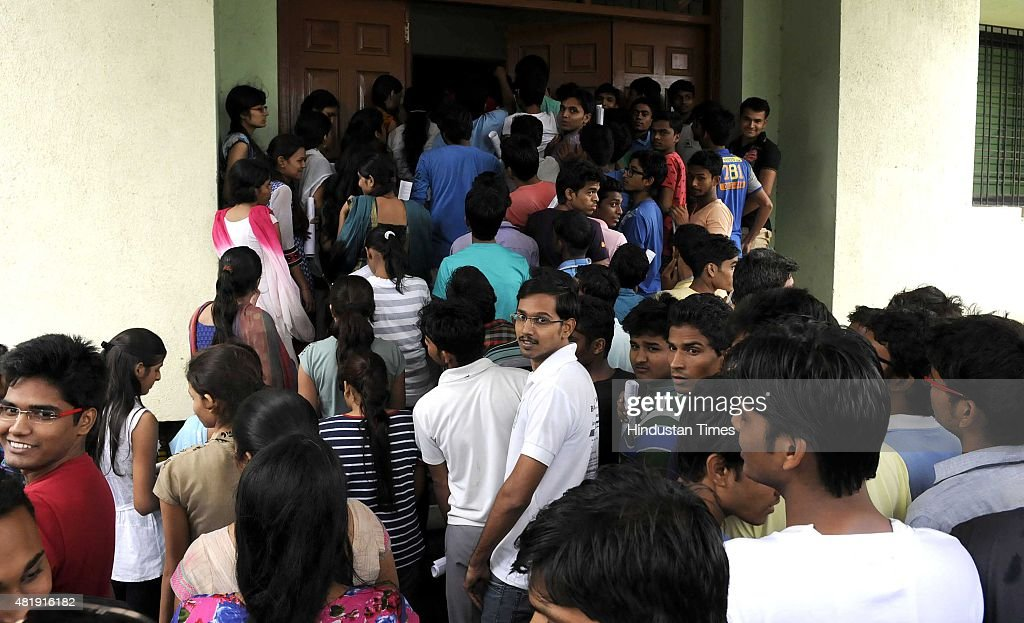 Students collecting their stuff at exam centre after