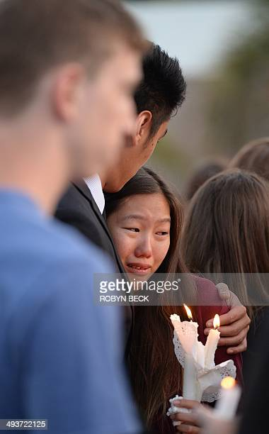 Students comfort each other during a candlelight vigil on May 24 2014 for those affected by a killing spree in Isla Vista on the University of...