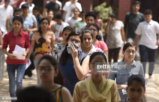 Students coming out after the CBSE National EligibilityCumEntrance Test medical entrance exam all over India at Kerala school on May 7 2017 in New...