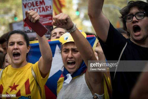 Students demonstrate against the position of the Spanish government to ban the Selfdetermination referendum of Catalonia during a university students...