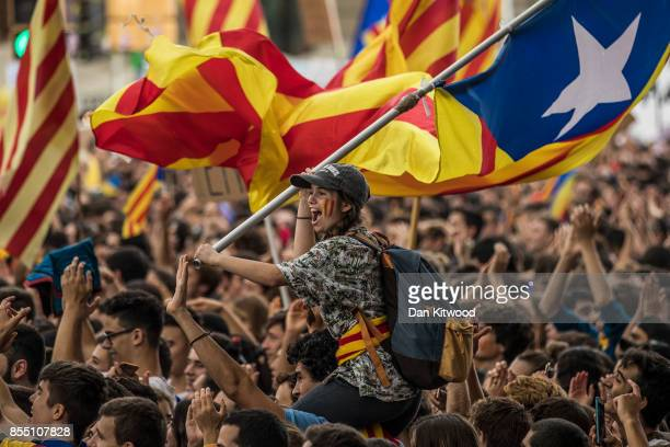 Students demonstrate against the position of the Spanish government to ban the Self-determination referendum of Catalonia during a university...
