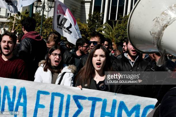 Students demonstrate in central Athens on February 26 2018 against an educational reform law to be voted in parliament Greece's creditors begin in...