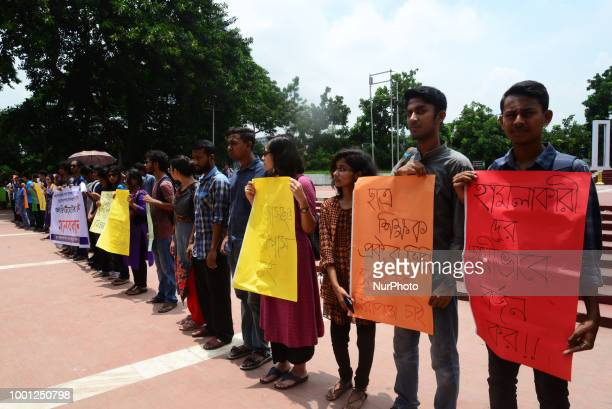 Students demonstrate in Dhaka Bangladesh on July 18 2018 against attacks on teacher and demanding Campus safety at Central Shahid Minar