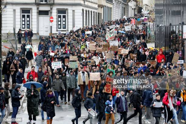 Students demonstrate on January 17 in Brussels during a 'Youth For Climate' rally urging pupils to skip classes to protest a lack of climate...