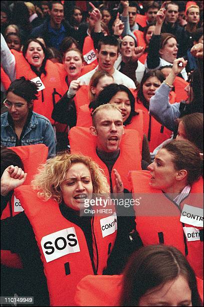 Students demonstrate outside MEDEF offices to save qualification contracts in Paris France on March 26 2002