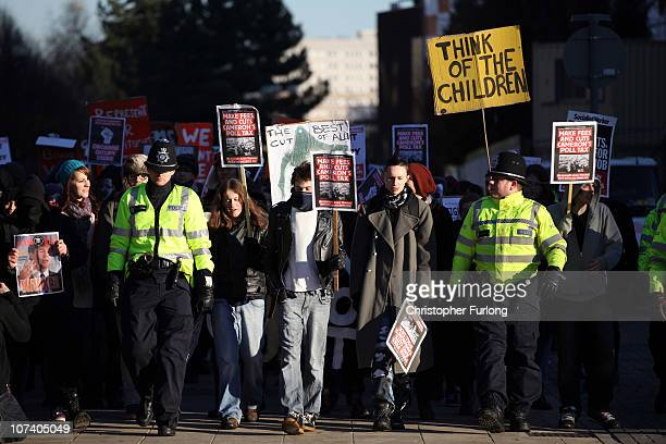 Students demonstrate through Birmingham City centre against government education tuition fee plans on December 8 2010 in Birmingham United Kingdom...