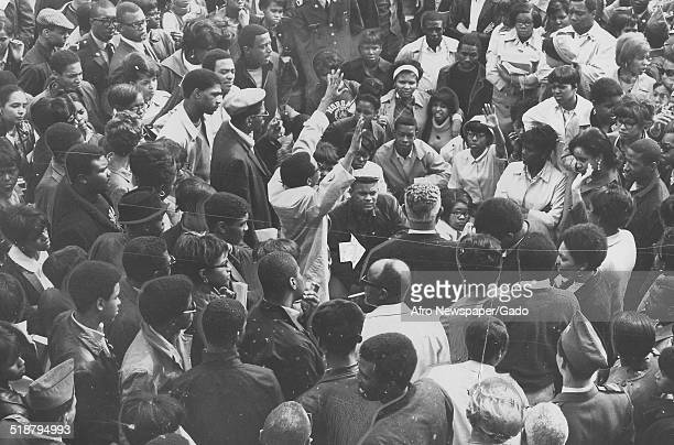 Students demonstrating at Morgan State University during a Black Power event Baltimore Maryland April 6 1968