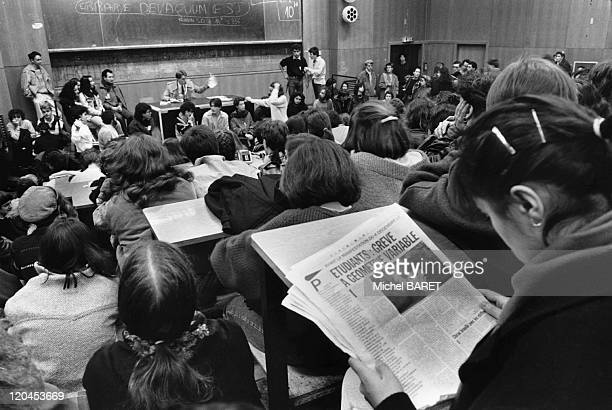 Student's demonstration against Devaquet law in Nanterre France on December 04 1986 General Assembly