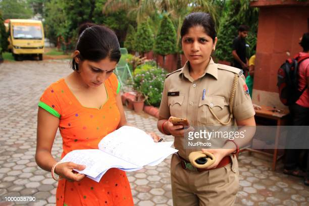 Students discuss after attend their paper of the Rajasthan Police Recruitment exam 2018 in Jaipur RajasthanIndia on 14 July2018