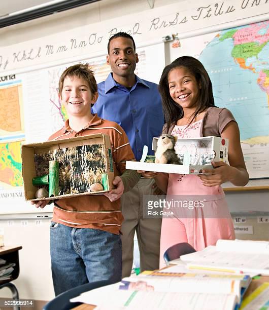 Students Displaying Dioramas