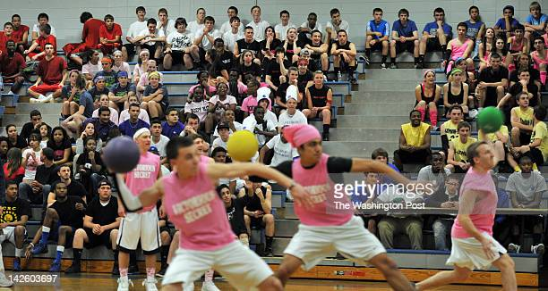Students divided into dodgeball teams take in the action of a school dodgeball tournament at Bunnell High School on March 30 in Stratford CT The high...