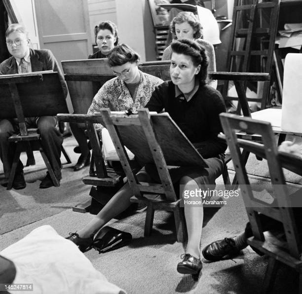 Students drawing in a life class at Slade School of Fine Art London December 1940