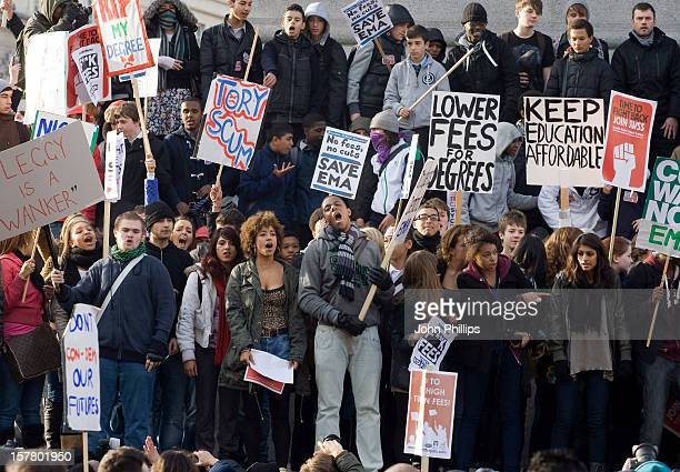 Students During A Demonstration Over Tuition Fees And University Funding In Whitehall London