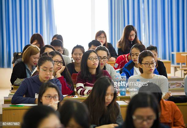 Students during a lecture at the Hanoi Law University on October 31 2016 in Hanoi Vietnam