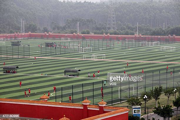 Students during a training session at Evergrande Football School on April 29 2015 in Qingyuan Guangdong Province of China Evergrande Football School...