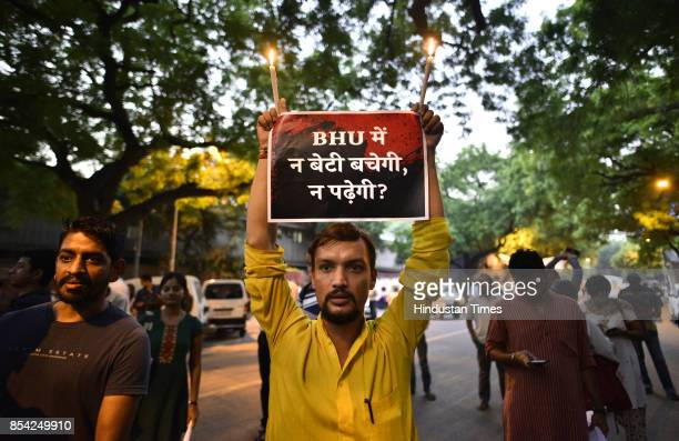 Students during candle light protest against lathicharge on students of BHU at Jantar Mantar on September 26 2017 in New Delhi India Several students...