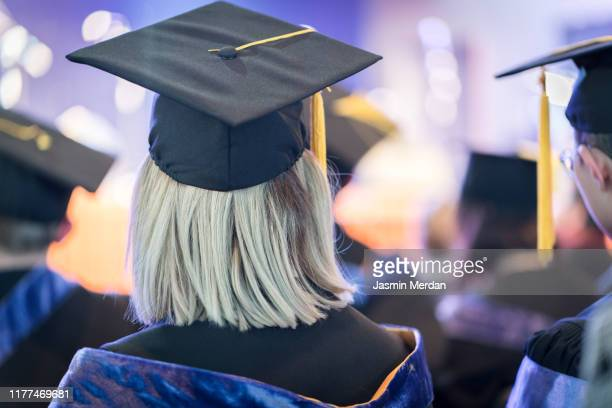 students during graduation ceremony - state school stock pictures, royalty-free photos & images