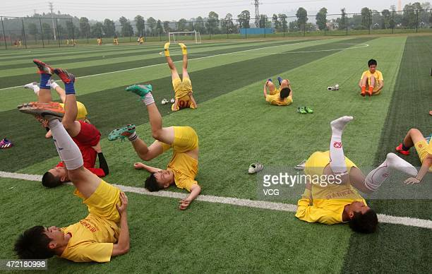 Students during training session at Evergrande Football School on April 28 2015 in Qingyuan Guangdong Province of China Evergrande Football School a...