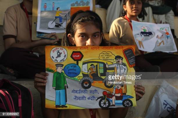Students during 'Youth Festival' Thane Traffic awareness campaign organized by Thane traffic dept at Dadaji Kondadev Stadium on February 1 2018 in...