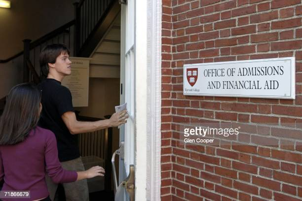 Students enter the Admissions Building on the campus of Harvard University September 12 2006 in Cambridge Massachusetts Harvard has announced that it...