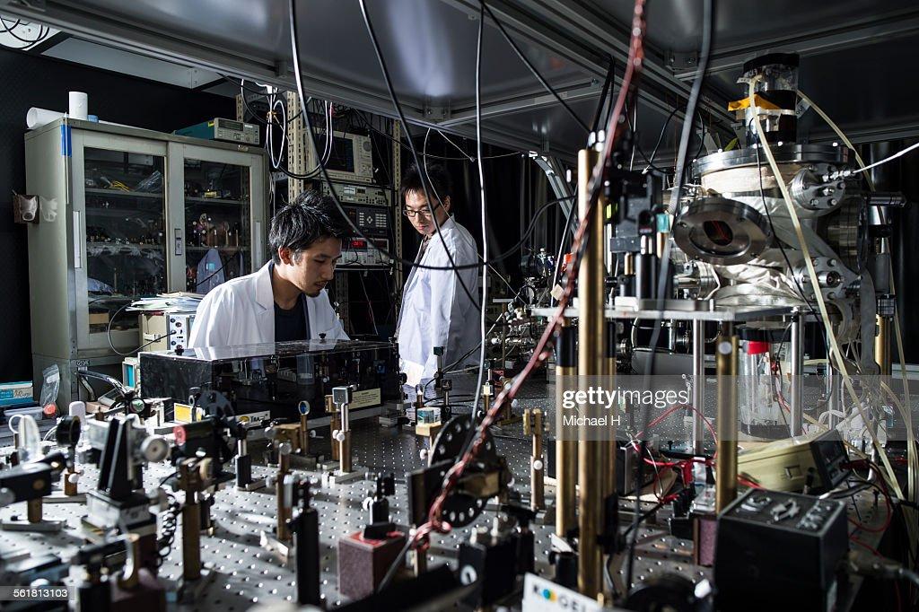 students examining at science laboratory : Stock Photo