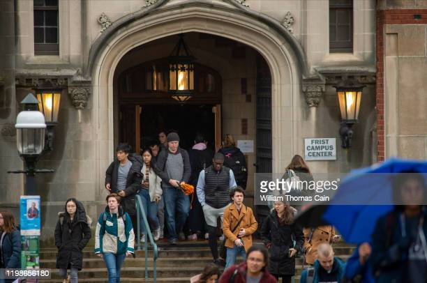Students exit a building between classes at Princeton University on February 4, 2020 in Princeton, New Jersey. The university said over 100 students,...